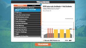 Mein FTP-Training in Zwift, geplant auf TrainingPeaks. TrainingPeaks stellt leider immer nur das für den Tag eingeplante Training zur Verfügung.