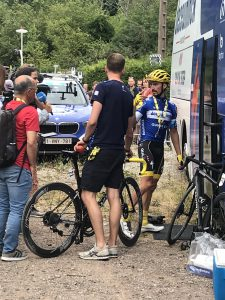 """Emanuel Buchmann after the stage to the """"La Planche des Belles Filles"""", the plain of the beautiful daughters. """"Emu"""" lost only seven seconds to the day's winner and thus belongs to the extended circle of favourites."""